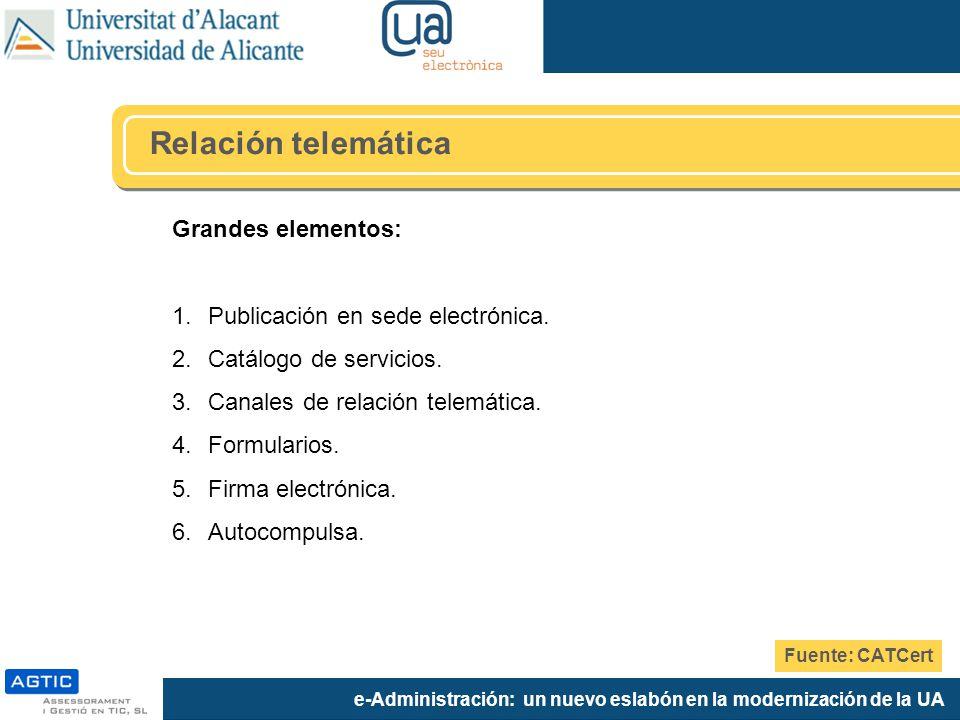 e-Administración: un nuevo eslabón en la modernización de la UA Grandes elementos: 1.Publicación en sede electrónica. 2.Catálogo de servicios. 3.Canal
