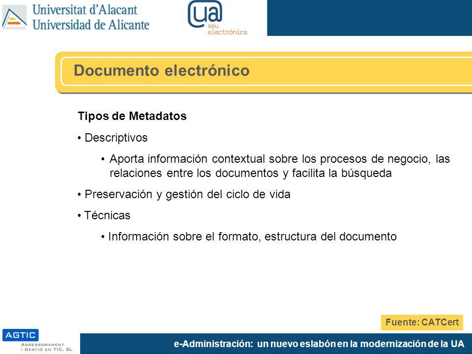 e-Administración: un nuevo eslabón en la modernización de la UA Tipos de Metadatos Descriptivos Aporta información contextual sobre los procesos de ne