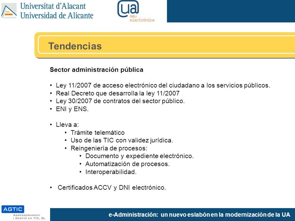 e-Administración: un nuevo eslabón en la modernización de la UA Tendencias Sector administración pública Ley 11/2007 de acceso electrónico del ciudadano a los servicios públicos.