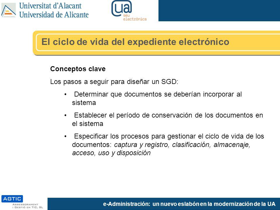 e-Administración: un nuevo eslabón en la modernización de la UA Conceptos clave Los pasos a seguir para diseñar un SGD: Determinar que documentos se d