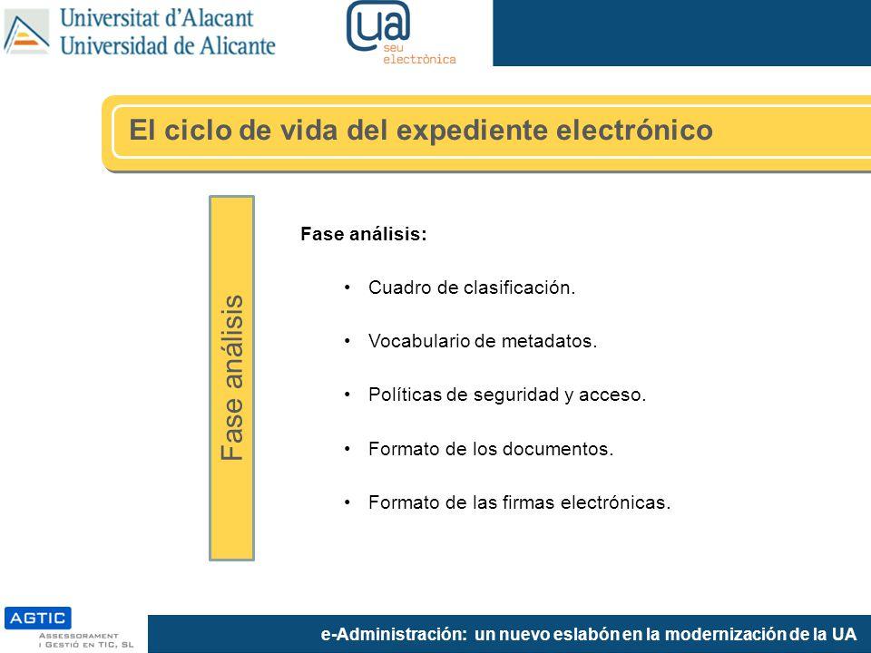 e-Administración: un nuevo eslabón en la modernización de la UA Fase análisis: Cuadro de clasificación. Vocabulario de metadatos. Políticas de segurid