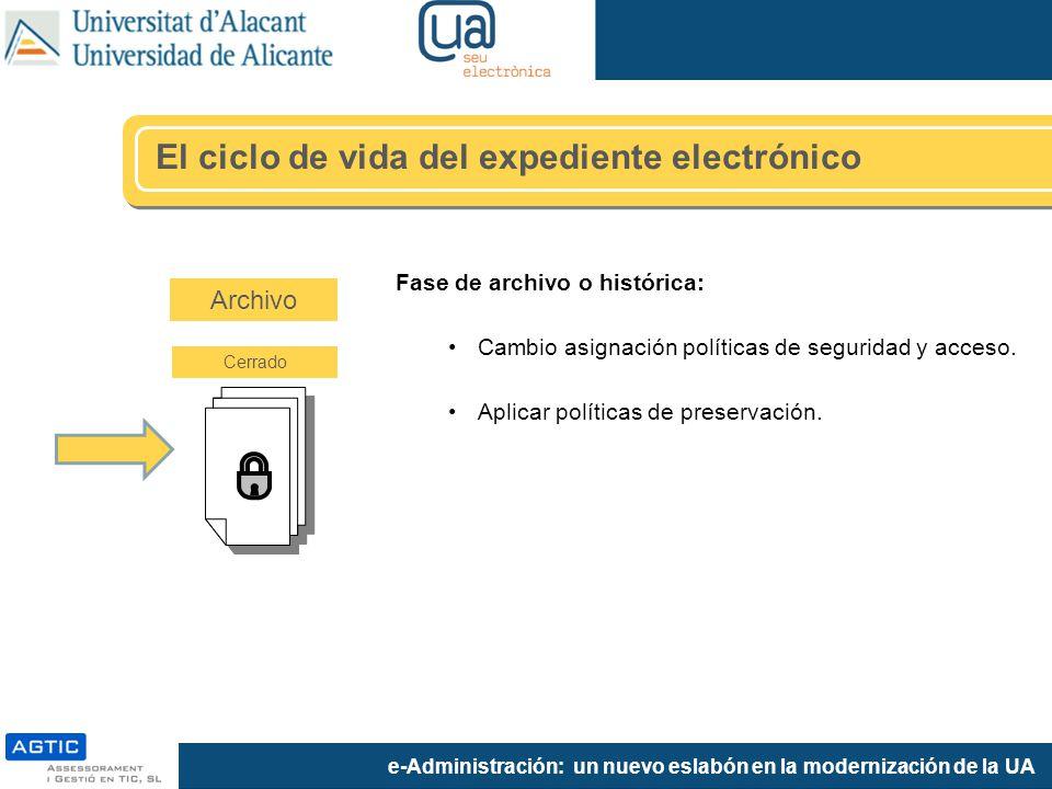 e-Administración: un nuevo eslabón en la modernización de la UA Fase de archivo o histórica: Cambio asignación políticas de seguridad y acceso. Aplica
