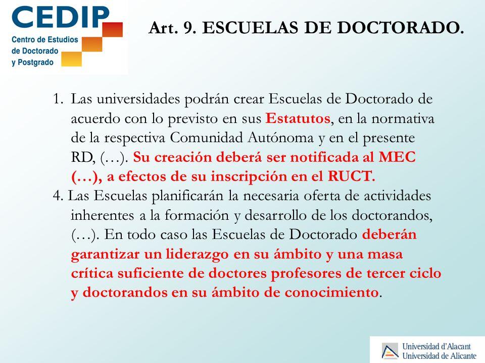 Art. 9. ESCUELAS DE DOCTORADO. 1.Las universidades podrán crear Escuelas de Doctorado de acuerdo con lo previsto en sus Estatutos, en la normativa de