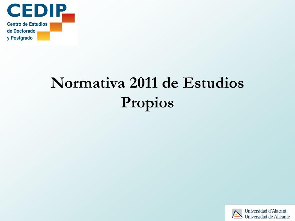 Normativa 2011 de Estudios Propios