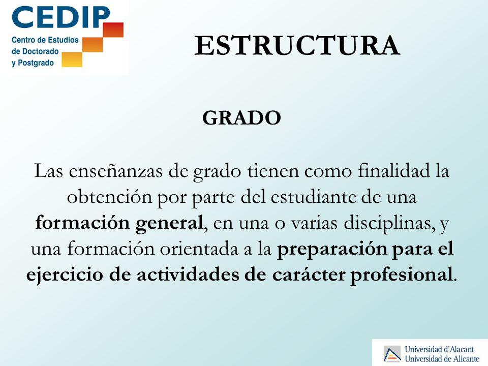 ESTRUCTURA GRADO Las enseñanzas de grado tienen como finalidad la obtención por parte del estudiante de una formación general, en una o varias discipl