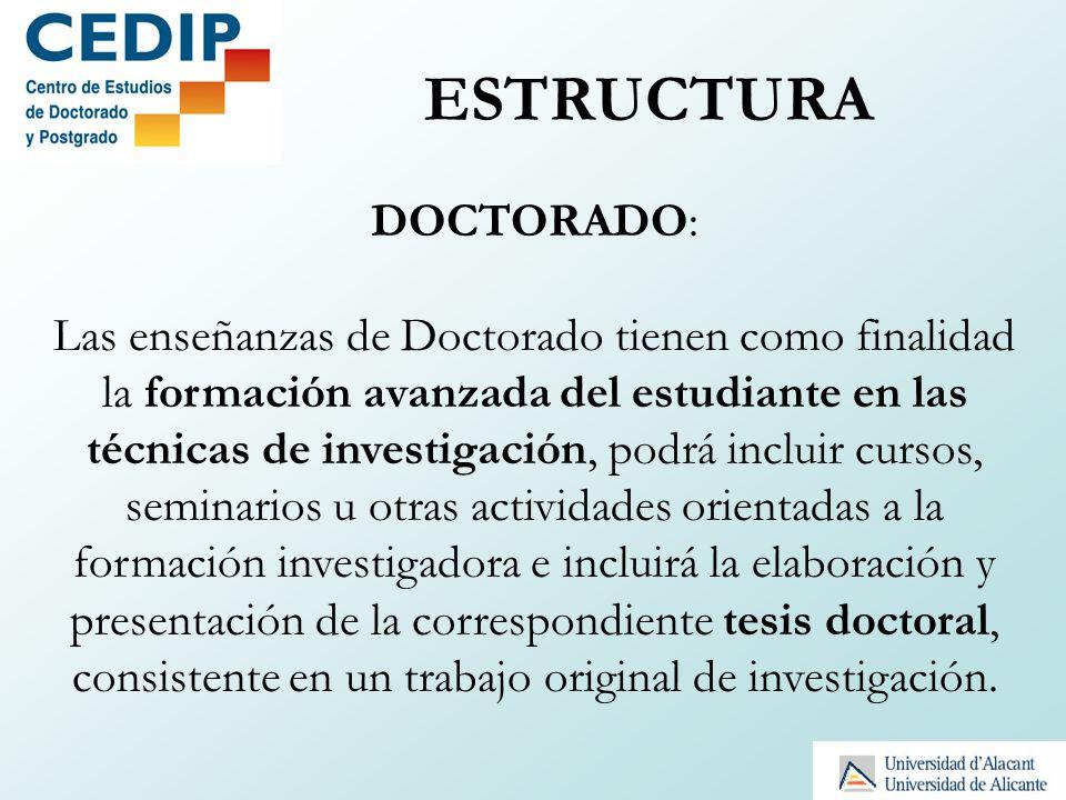 GRADO (4 cursos) 240 ECTS MÁSTER (1/2 cursos) 60-120 ECTS DOCTORADO (3 años) Tesis Doctoral Los participantes no son sólo estudiantes sino investigadores en formación.