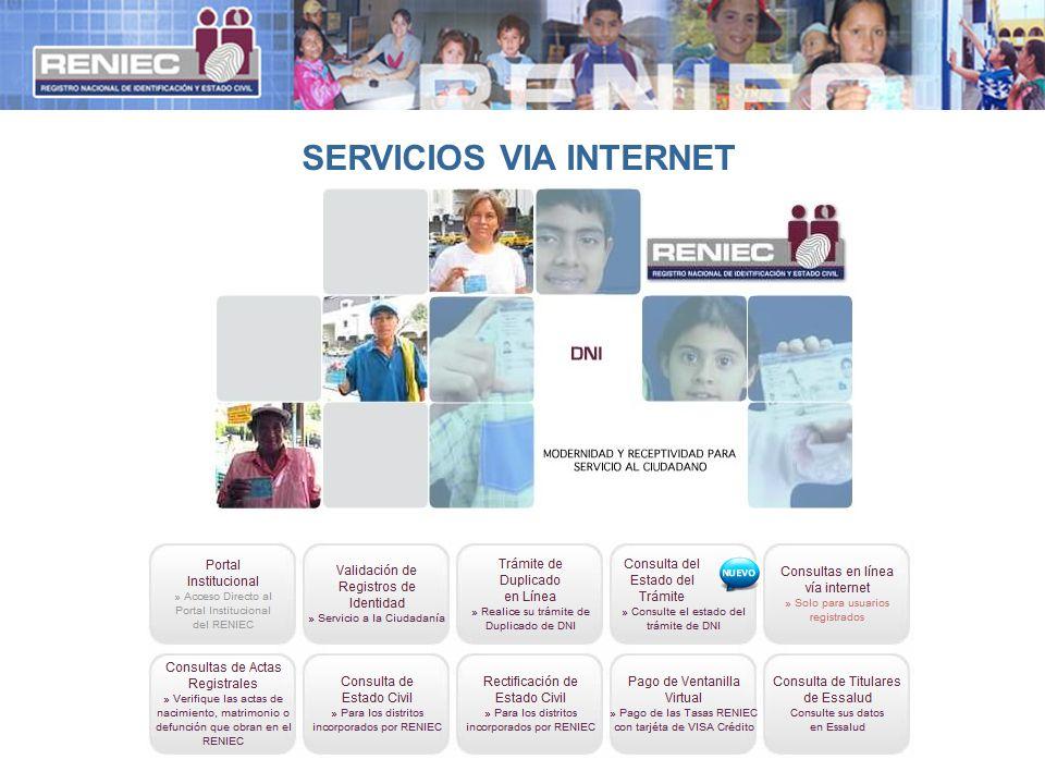 SERVICIOS VIA INTERNET