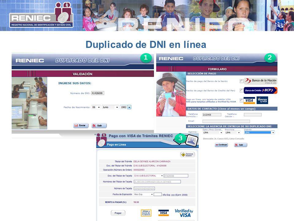Duplicado de DNI en línea 1 1 2 2 3 3
