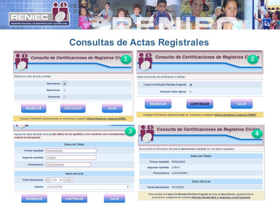 Consultas de Actas Registrales 1 1 2 2 3 3 4 4