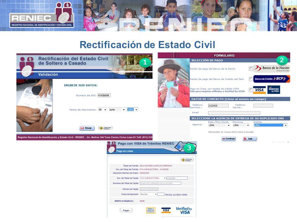 Rectificación de Estado Civil 1 1 2 2 3 3