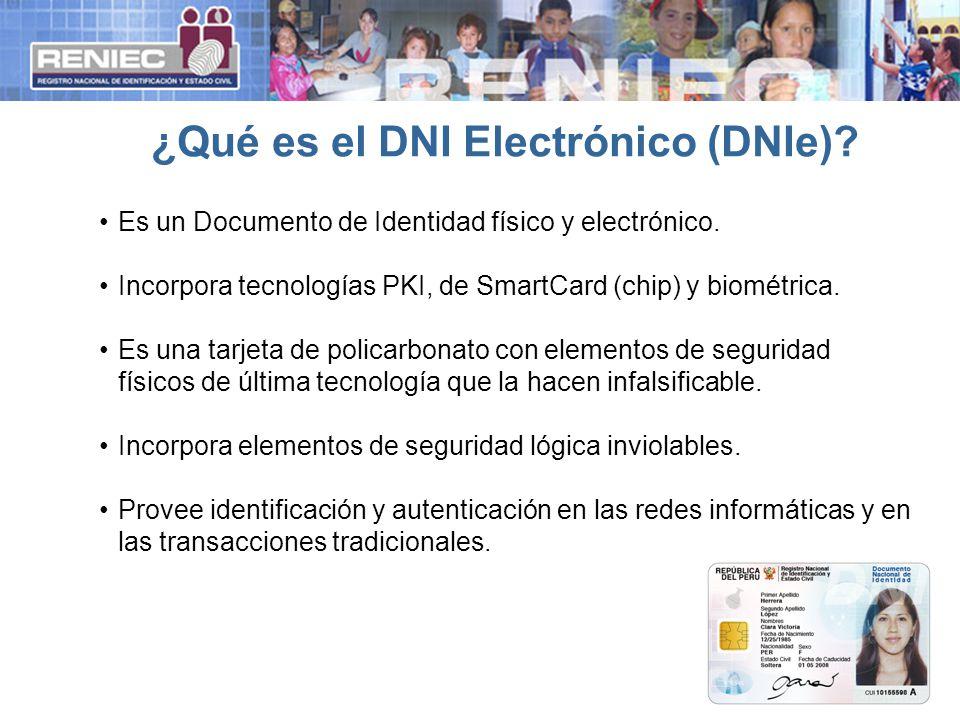 ¿Qué es el DNI Electrónico (DNIe)? Es un Documento de Identidad físico y electrónico. Incorpora tecnologías PKI, de SmartCard (chip) y biométrica. Es