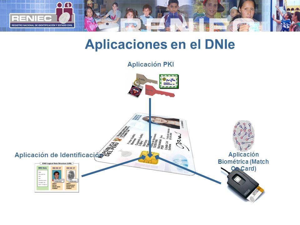 Aplicaciones en el DNIe Aplicación de Identificación Aplicación Biométrica (Match On Card) Aplicación PKI