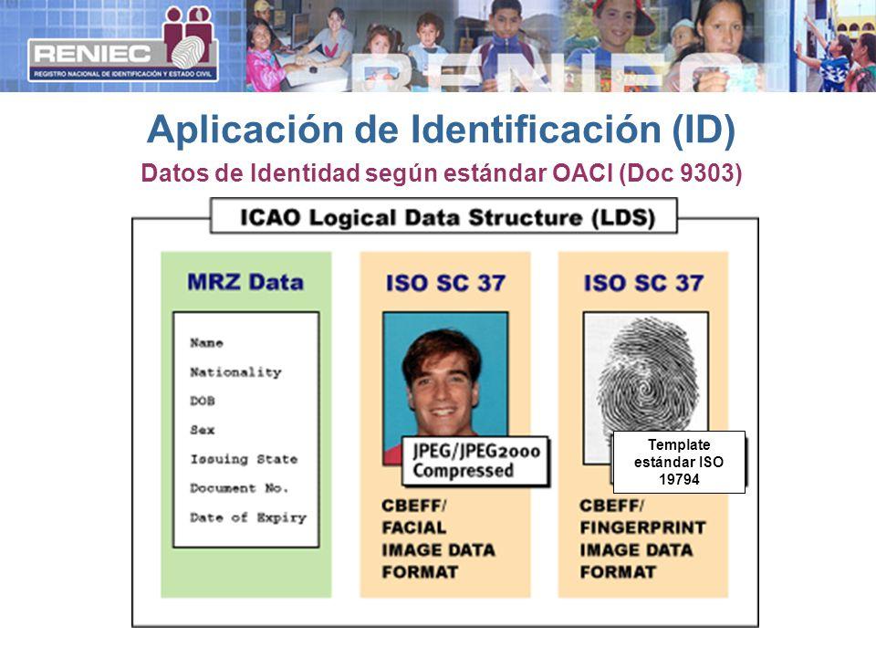 Datos de Identidad según estándar OACI (Doc 9303) Aplicación de Identificación (ID) Template estándar ISO 19794