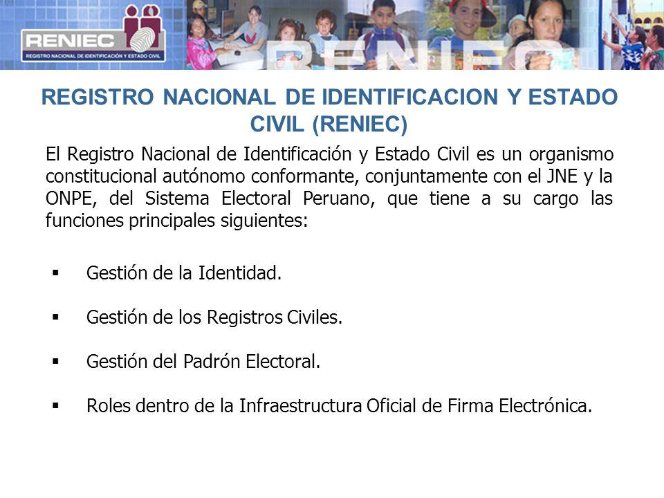 Gestión de la Identidad. Gestión de los Registros Civiles. Gestión del Padrón Electoral. Roles dentro de la Infraestructura Oficial de Firma Electróni