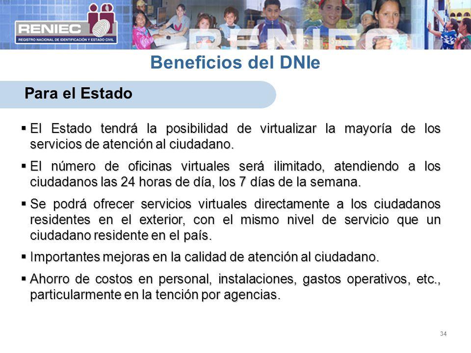 34 Beneficios del DNIe Para el Estado El Estado tendrá la posibilidad de virtualizar la mayoría de los servicios de atención al ciudadano. El Estado t