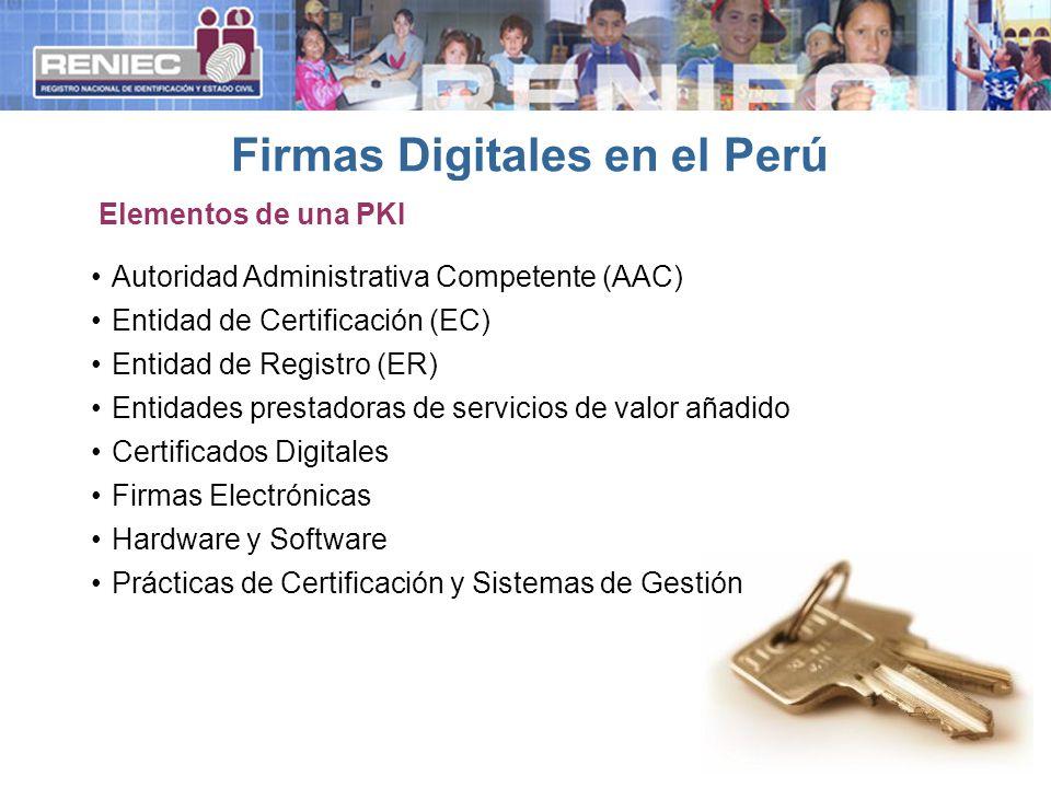 Autoridad Administrativa Competente (AAC) Entidad de Certificación (EC) Entidad de Registro (ER) Entidades prestadoras de servicios de valor añadido Certificados Digitales Firmas Electrónicas Hardware y Software Prácticas de Certificación y Sistemas de Gestión Firmas Digitales en el Perú Elementos de una PKI