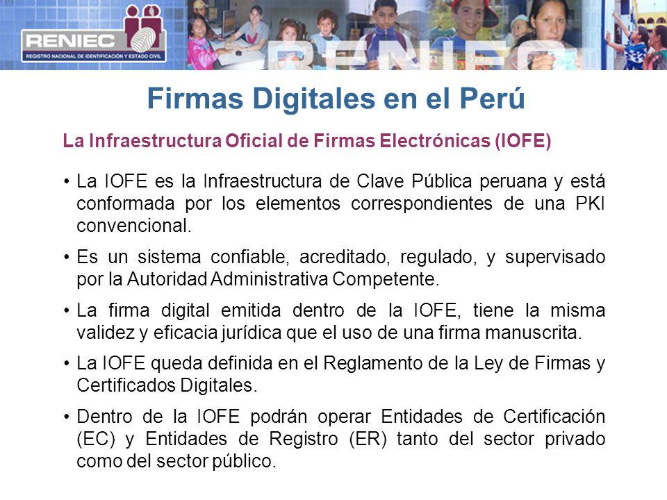 La IOFE es la Infraestructura de Clave Pública peruana y está conformada por los elementos correspondientes de una PKI convencional. Es un sistema con