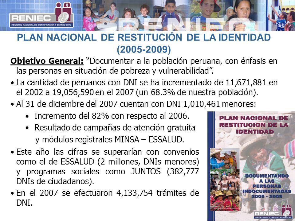 5 PLAN NACIONAL DE RESTITUCIÓN DE LA IDENTIDAD (2005-2009) Objetivo General: Documentar a la población peruana, con énfasis en las personas en situaci