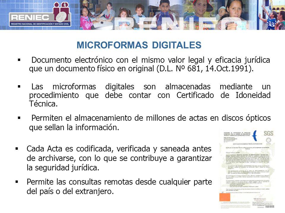 9 Documento electrónico con el mismo valor legal y eficacia jurídica que un documento físico en original (D.L. Nº 681, 14.Oct.1991). Las microformas d