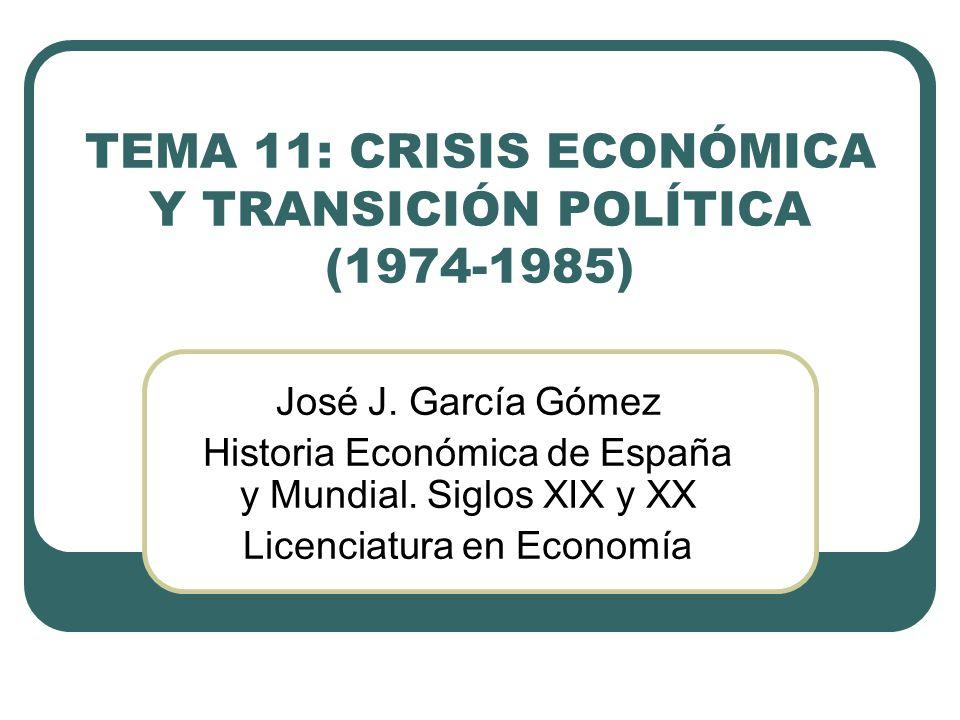 EL DOBLE SHOCK ENERGÉTICO Y SU IMPACTO SOBRE LA ECONOMÍA ESPAÑOLA Para España, al igual que para los demás países mediterráneos, la crisis fue más intensa, compleja y prolongada Fue muy importante la herencia económica del franquismo El franquismo tardío legó a la democracia una estructura institucional reguladora de la organización y el funcionamiento del sistema económico que condicionaba la actuación de los agentes
