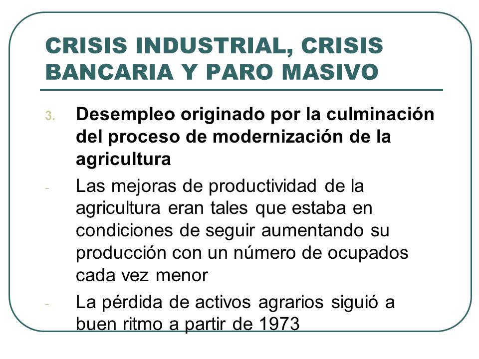 CRISIS INDUSTRIAL, CRISIS BANCARIA Y PARO MASIVO 3. Desempleo originado por la culminación del proceso de modernización de la agricultura - Las mejora