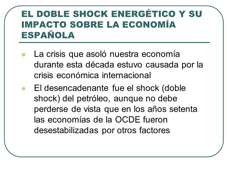 EL DOBLE SHOCK ENERGÉTICO Y SU IMPACTO SOBRE LA ECONOMÍA ESPAÑOLA La crisis que asoló nuestra economía durante esta década estuvo causada por la crisis económica internacional El desencadenante fue el shock (doble shock) del petróleo, aunque no debe perderse de vista que en los años setenta las economías de la OCDE fueron desestabilizadas por otros factores