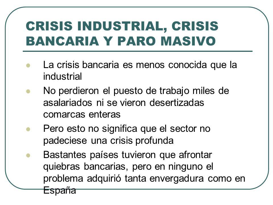 CRISIS INDUSTRIAL, CRISIS BANCARIA Y PARO MASIVO La crisis bancaria es menos conocida que la industrial No perdieron el puesto de trabajo miles de asa