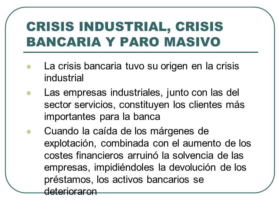 CRISIS INDUSTRIAL, CRISIS BANCARIA Y PARO MASIVO La crisis bancaria tuvo su origen en la crisis industrial Las empresas industriales, junto con las de