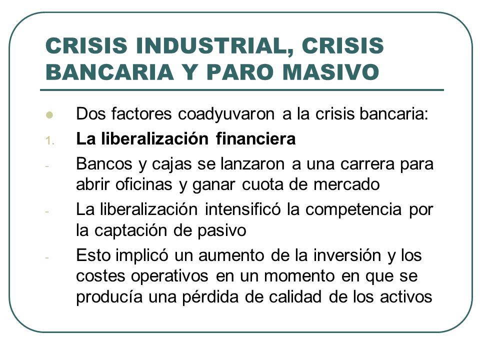 CRISIS INDUSTRIAL, CRISIS BANCARIA Y PARO MASIVO Dos factores coadyuvaron a la crisis bancaria: 1. La liberalización financiera - Bancos y cajas se la