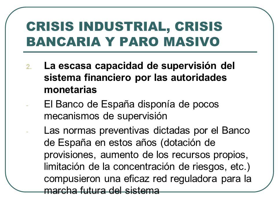 CRISIS INDUSTRIAL, CRISIS BANCARIA Y PARO MASIVO 2. La escasa capacidad de supervisión del sistema financiero por las autoridades monetarias - El Banc
