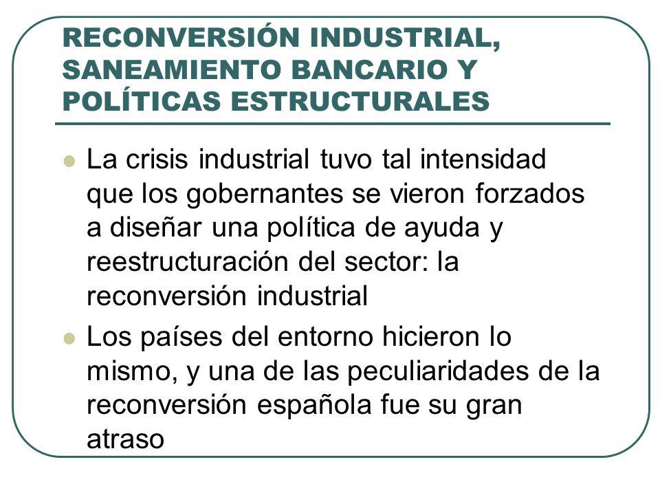 RECONVERSIÓN INDUSTRIAL, SANEAMIENTO BANCARIO Y POLÍTICAS ESTRUCTURALES La crisis industrial tuvo tal intensidad que los gobernantes se vieron forzados a diseñar una política de ayuda y reestructuración del sector: la reconversión industrial Los países del entorno hicieron lo mismo, y una de las peculiaridades de la reconversión española fue su gran atraso