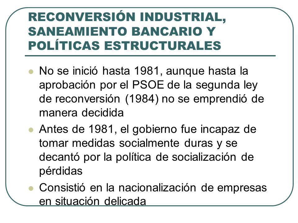 RECONVERSIÓN INDUSTRIAL, SANEAMIENTO BANCARIO Y POLÍTICAS ESTRUCTURALES No se inició hasta 1981, aunque hasta la aprobación por el PSOE de la segunda ley de reconversión (1984) no se emprendió de manera decidida Antes de 1981, el gobierno fue incapaz de tomar medidas socialmente duras y se decantó por la política de socialización de pérdidas Consistió en la nacionalización de empresas en situación delicada