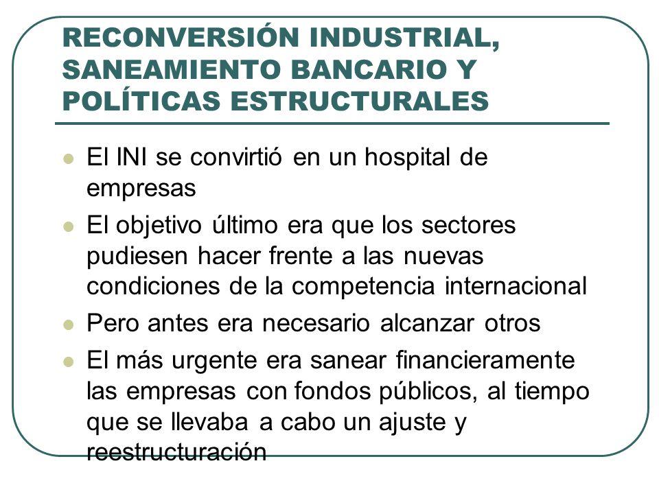 RECONVERSIÓN INDUSTRIAL, SANEAMIENTO BANCARIO Y POLÍTICAS ESTRUCTURALES El INI se convirtió en un hospital de empresas El objetivo último era que los