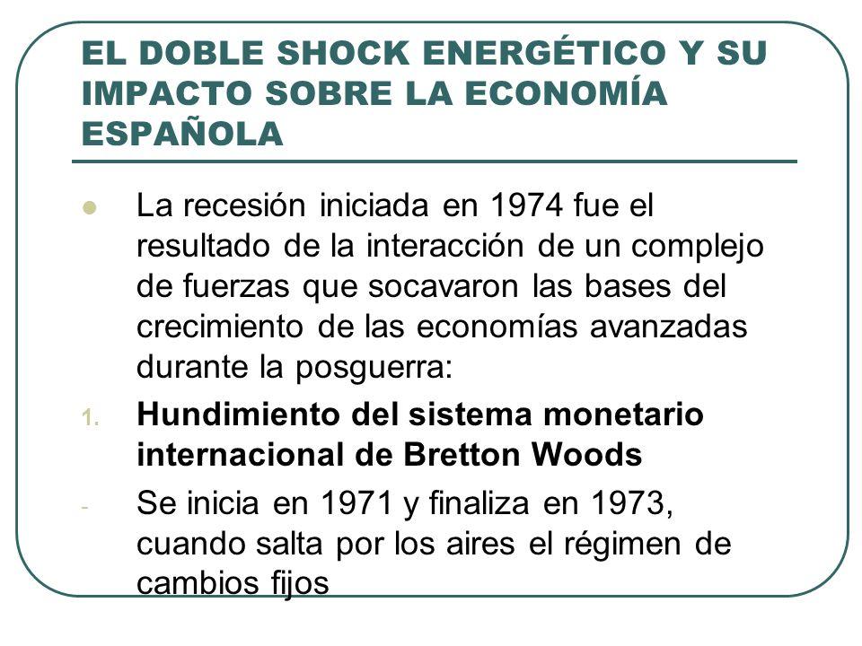 EL DOBLE SHOCK ENERGÉTICO Y SU IMPACTO SOBRE LA ECONOMÍA ESPAÑOLA La recesión iniciada en 1974 fue el resultado de la interacción de un complejo de fu