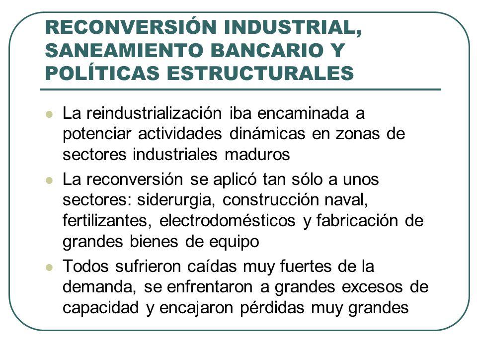 RECONVERSIÓN INDUSTRIAL, SANEAMIENTO BANCARIO Y POLÍTICAS ESTRUCTURALES La reindustrialización iba encaminada a potenciar actividades dinámicas en zon