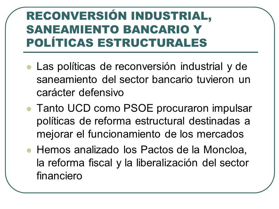 RECONVERSIÓN INDUSTRIAL, SANEAMIENTO BANCARIO Y POLÍTICAS ESTRUCTURALES Las políticas de reconversión industrial y de saneamiento del sector bancario