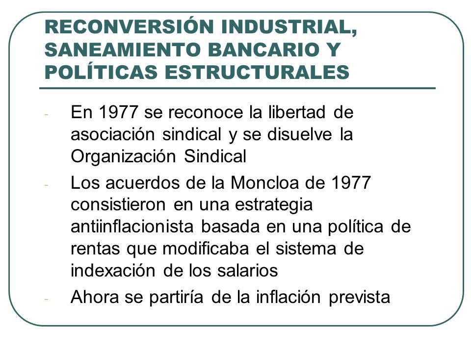 RECONVERSIÓN INDUSTRIAL, SANEAMIENTO BANCARIO Y POLÍTICAS ESTRUCTURALES - En 1977 se reconoce la libertad de asociación sindical y se disuelve la Organización Sindical - Los acuerdos de la Moncloa de 1977 consistieron en una estrategia antiinflacionista basada en una política de rentas que modificaba el sistema de indexación de los salarios - Ahora se partiría de la inflación prevista