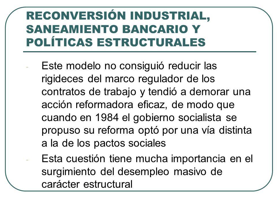 RECONVERSIÓN INDUSTRIAL, SANEAMIENTO BANCARIO Y POLÍTICAS ESTRUCTURALES - Este modelo no consiguió reducir las rigideces del marco regulador de los co