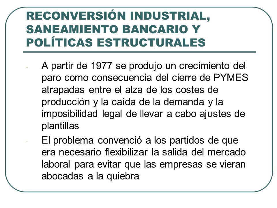 RECONVERSIÓN INDUSTRIAL, SANEAMIENTO BANCARIO Y POLÍTICAS ESTRUCTURALES - A partir de 1977 se produjo un crecimiento del paro como consecuencia del cierre de PYMES atrapadas entre el alza de los costes de producción y la caída de la demanda y la imposibilidad legal de llevar a cabo ajustes de plantillas - El problema convenció a los partidos de que era necesario flexibilizar la salida del mercado laboral para evitar que las empresas se vieran abocadas a la quiebra
