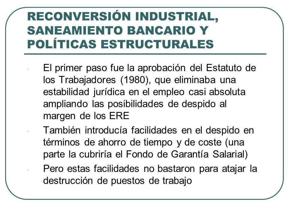 RECONVERSIÓN INDUSTRIAL, SANEAMIENTO BANCARIO Y POLÍTICAS ESTRUCTURALES - El primer paso fue la aprobación del Estatuto de los Trabajadores (1980), que eliminaba una estabilidad jurídica en el empleo casi absoluta ampliando las posibilidades de despido al margen de los ERE - También introducía facilidades en el despido en términos de ahorro de tiempo y de coste (una parte la cubriría el Fondo de Garantía Salarial) - Pero estas facilidades no bastaron para atajar la destrucción de puestos de trabajo