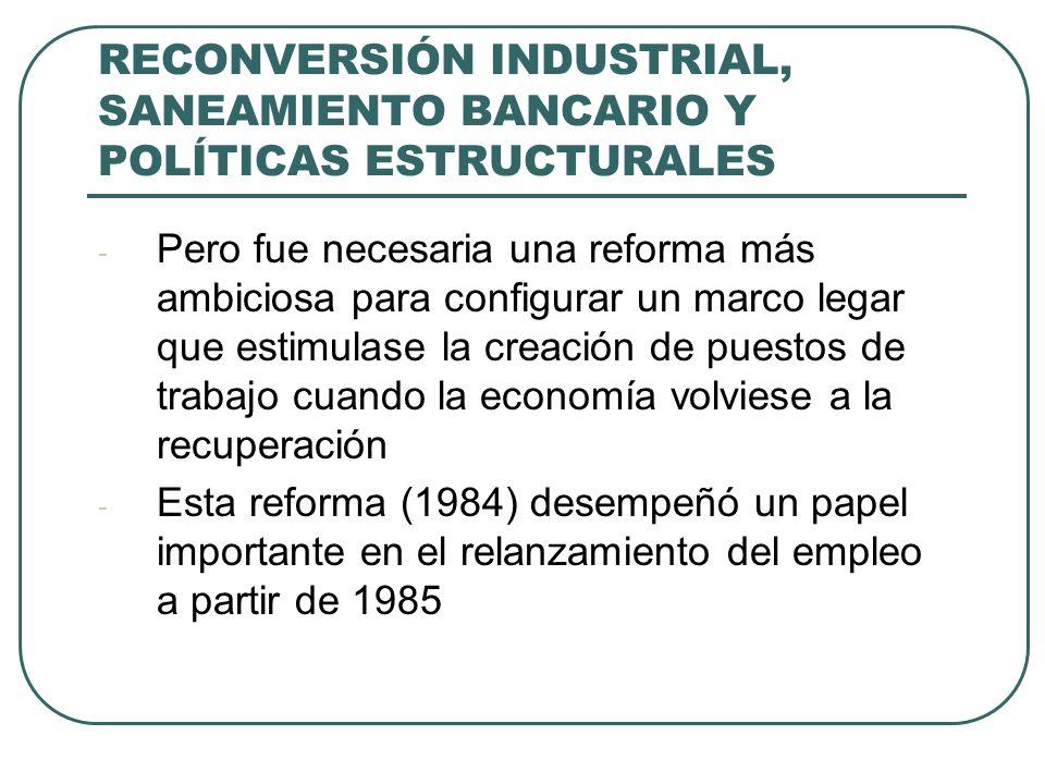 RECONVERSIÓN INDUSTRIAL, SANEAMIENTO BANCARIO Y POLÍTICAS ESTRUCTURALES - Pero fue necesaria una reforma más ambiciosa para configurar un marco legar que estimulase la creación de puestos de trabajo cuando la economía volviese a la recuperación - Esta reforma (1984) desempeñó un papel importante en el relanzamiento del empleo a partir de 1985
