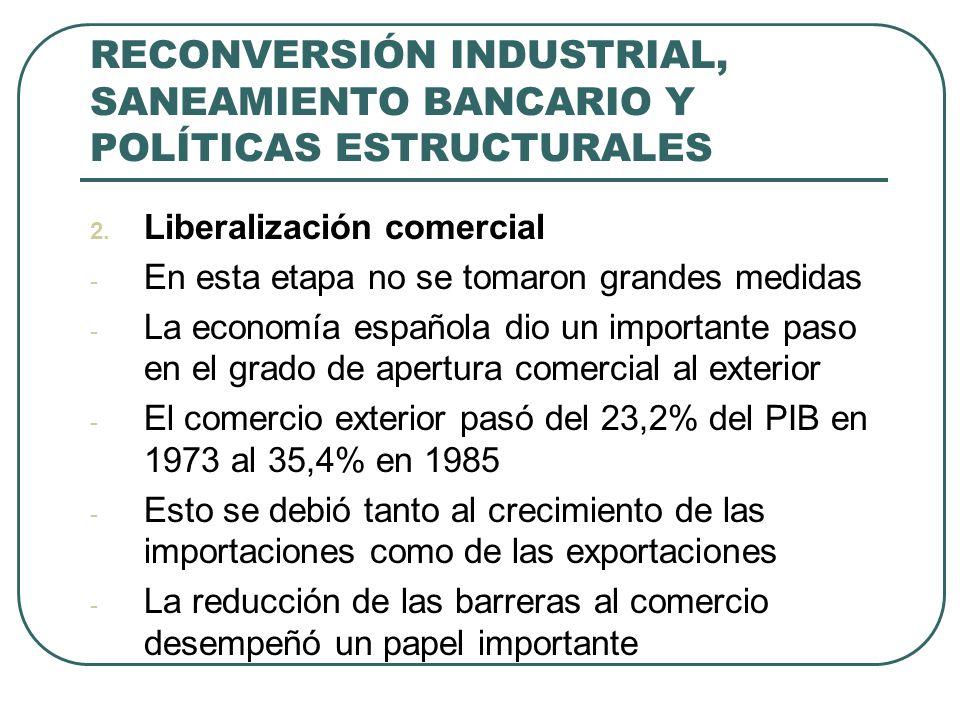 RECONVERSIÓN INDUSTRIAL, SANEAMIENTO BANCARIO Y POLÍTICAS ESTRUCTURALES 2. Liberalización comercial - En esta etapa no se tomaron grandes medidas - La