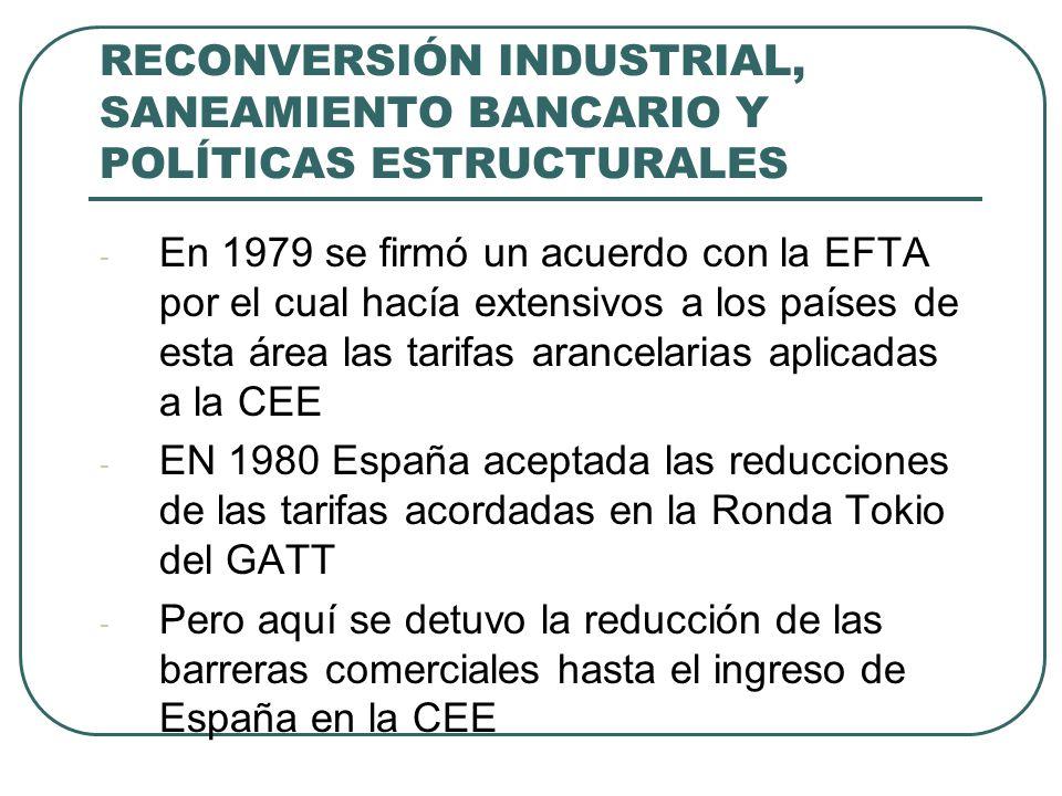 RECONVERSIÓN INDUSTRIAL, SANEAMIENTO BANCARIO Y POLÍTICAS ESTRUCTURALES - En 1979 se firmó un acuerdo con la EFTA por el cual hacía extensivos a los p