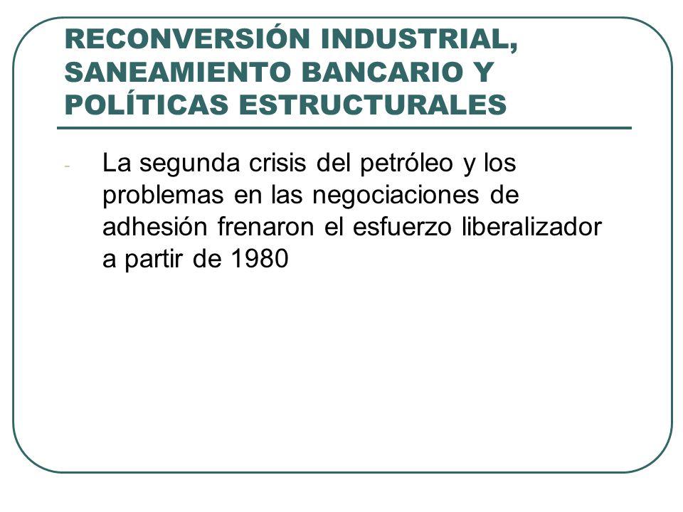 RECONVERSIÓN INDUSTRIAL, SANEAMIENTO BANCARIO Y POLÍTICAS ESTRUCTURALES - La segunda crisis del petróleo y los problemas en las negociaciones de adhesión frenaron el esfuerzo liberalizador a partir de 1980