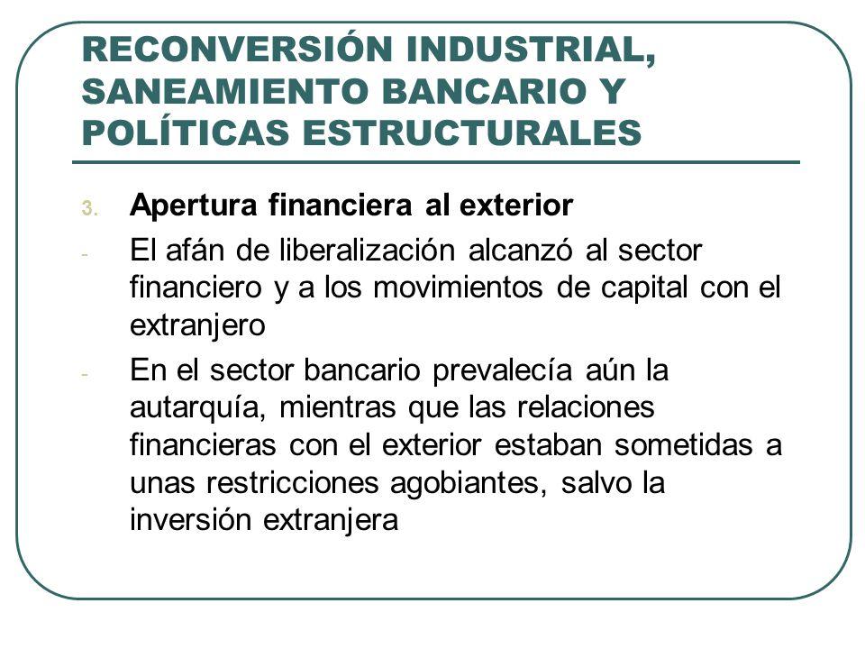 RECONVERSIÓN INDUSTRIAL, SANEAMIENTO BANCARIO Y POLÍTICAS ESTRUCTURALES 3. Apertura financiera al exterior - El afán de liberalización alcanzó al sect