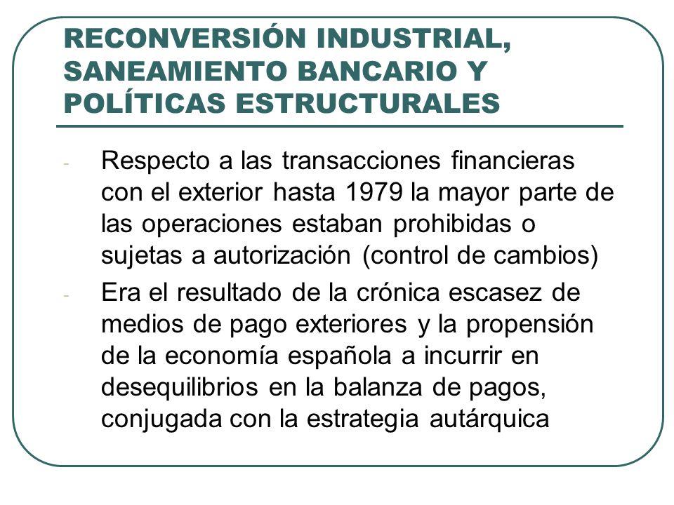 RECONVERSIÓN INDUSTRIAL, SANEAMIENTO BANCARIO Y POLÍTICAS ESTRUCTURALES - Respecto a las transacciones financieras con el exterior hasta 1979 la mayor parte de las operaciones estaban prohibidas o sujetas a autorización (control de cambios) - Era el resultado de la crónica escasez de medios de pago exteriores y la propensión de la economía española a incurrir en desequilibrios en la balanza de pagos, conjugada con la estrategia autárquica