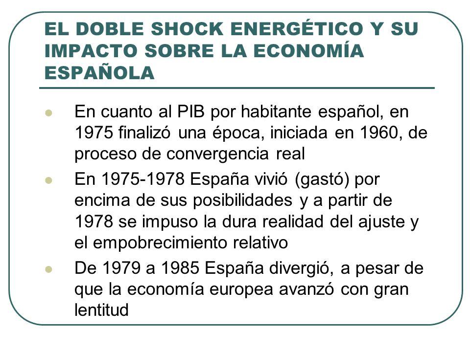 EL DOBLE SHOCK ENERGÉTICO Y SU IMPACTO SOBRE LA ECONOMÍA ESPAÑOLA En cuanto al PIB por habitante español, en 1975 finalizó una época, iniciada en 1960