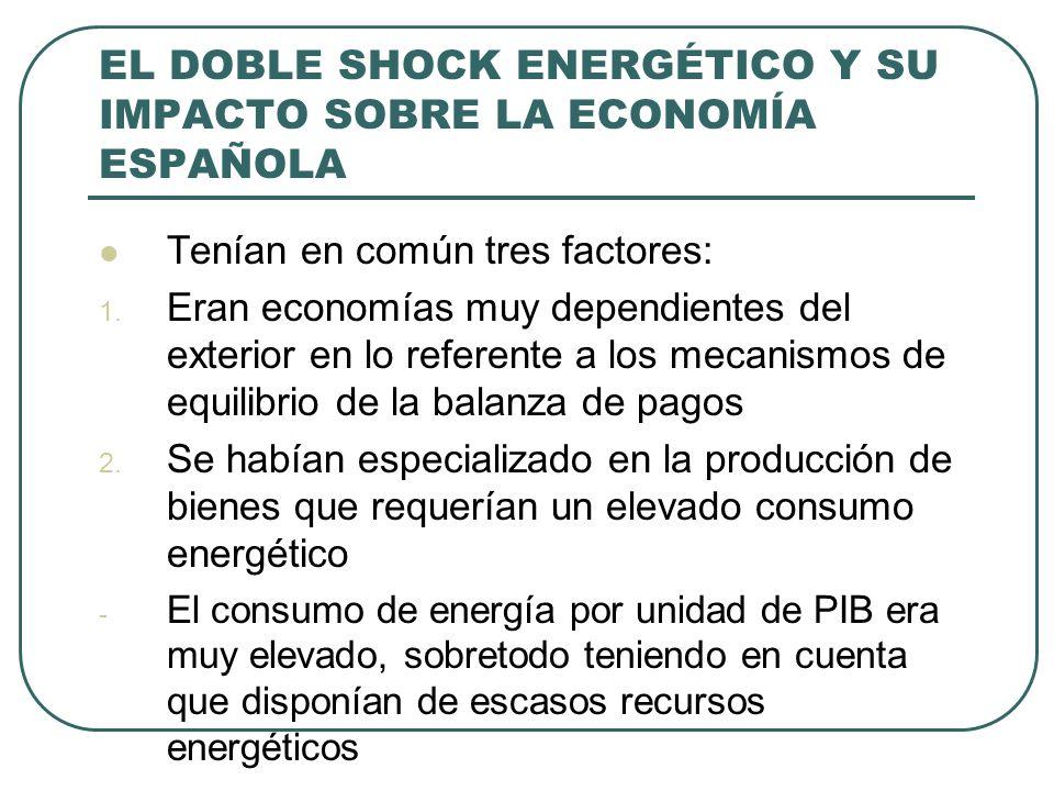EL DOBLE SHOCK ENERGÉTICO Y SU IMPACTO SOBRE LA ECONOMÍA ESPAÑOLA Tenían en común tres factores: 1. Eran economías muy dependientes del exterior en lo