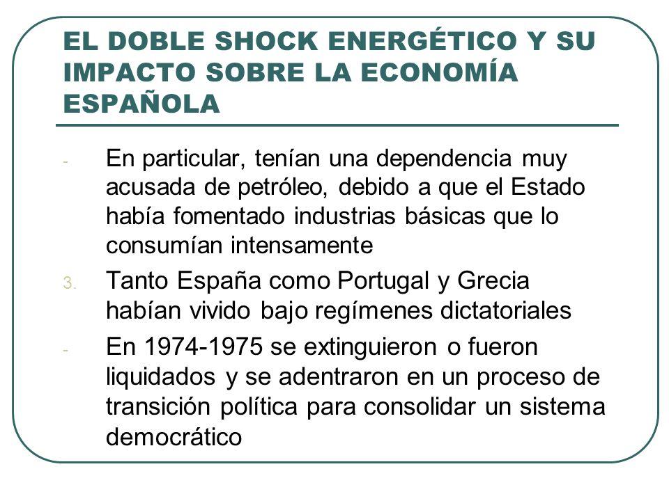 EL DOBLE SHOCK ENERGÉTICO Y SU IMPACTO SOBRE LA ECONOMÍA ESPAÑOLA - En particular, tenían una dependencia muy acusada de petróleo, debido a que el Estado había fomentado industrias básicas que lo consumían intensamente 3.