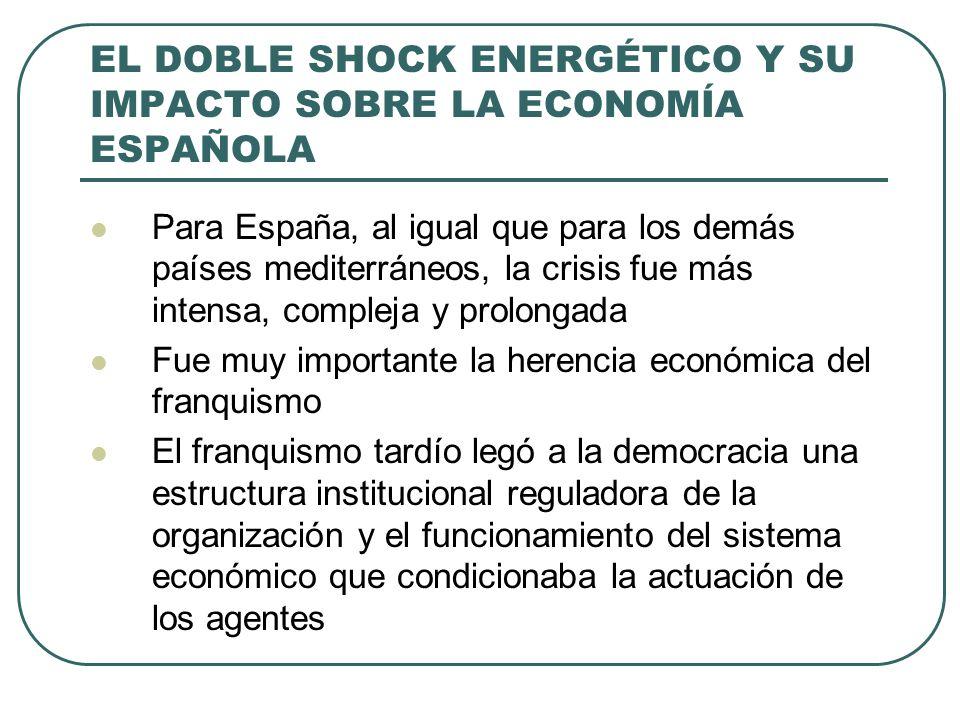EL DOBLE SHOCK ENERGÉTICO Y SU IMPACTO SOBRE LA ECONOMÍA ESPAÑOLA Para España, al igual que para los demás países mediterráneos, la crisis fue más int